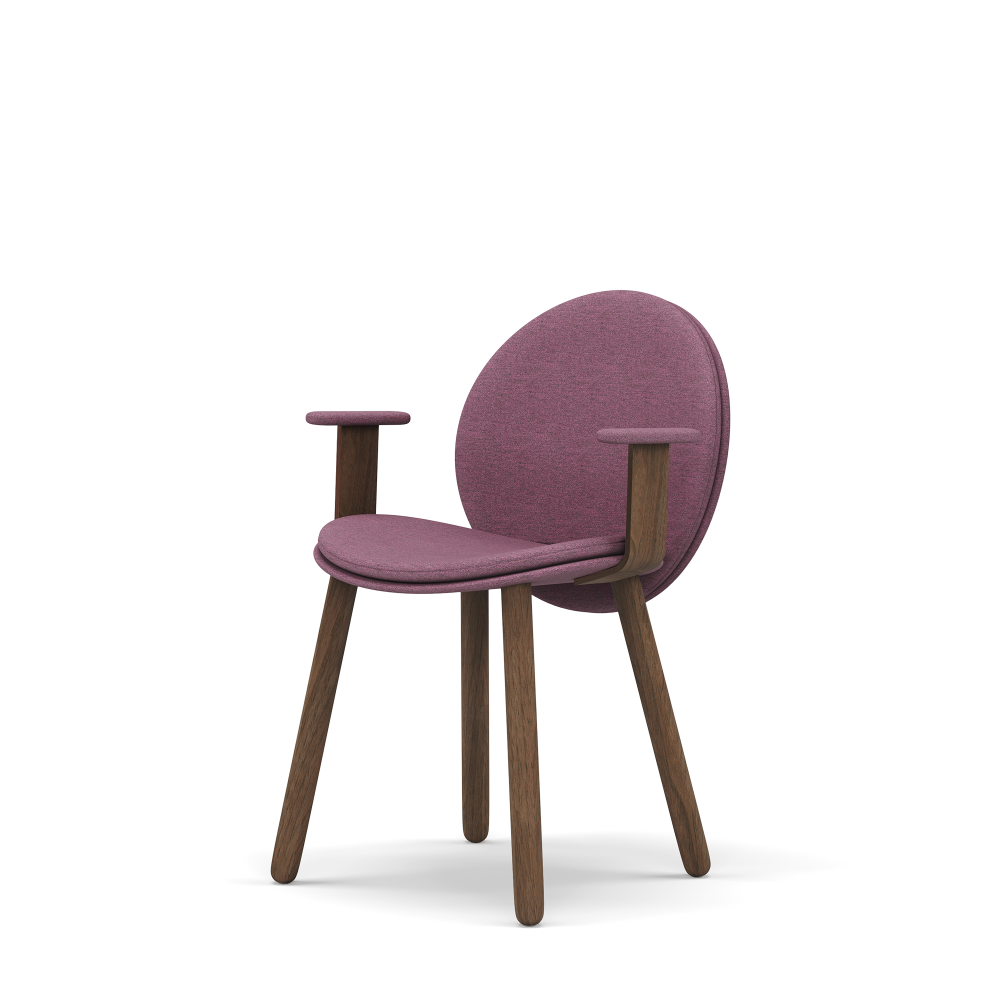 Maha dining chair, Armrest, delicate lines and comfortable volumes for a cocooning seat